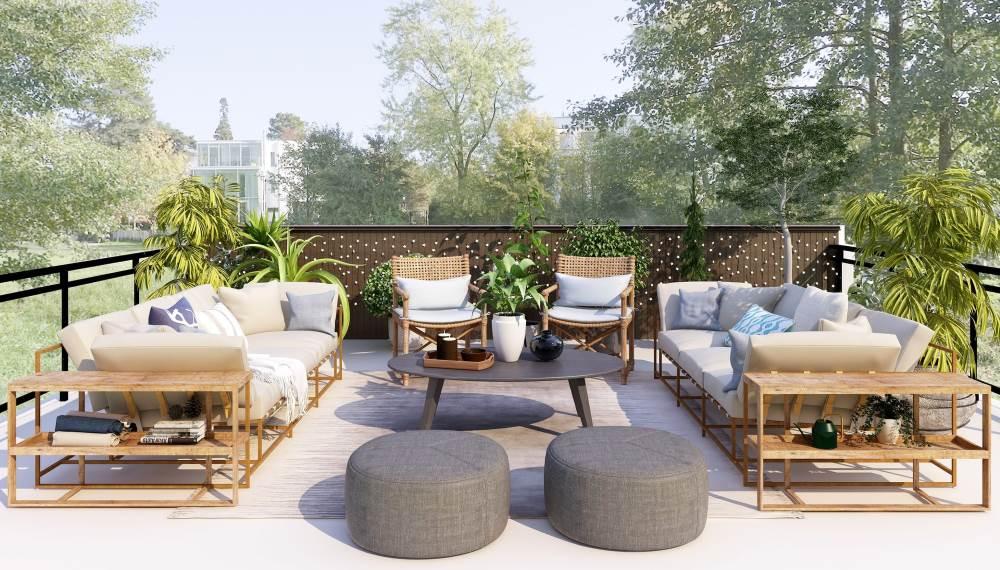 terrasse aménagée avec du mobilier